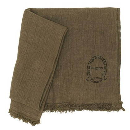 Bed & Philosophy Pure Linen Throw - Kaki (due instore April)