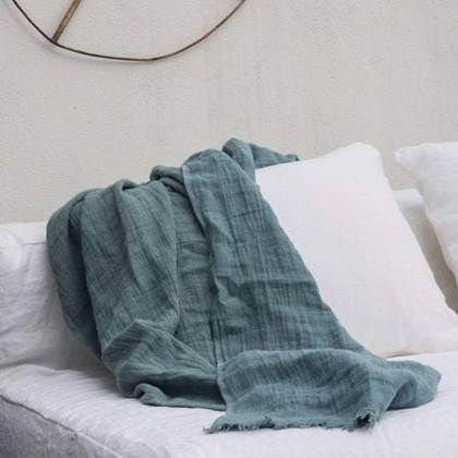 Bed & Philosophy Pure Linen Throw - Mineral (available to order)