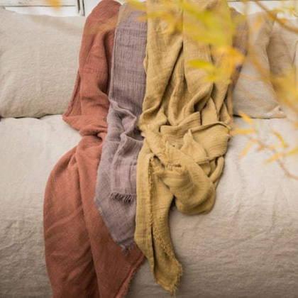 Bed & Philosophy Pure Linen Throw - Rosebud