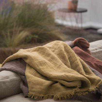 Bed & Philosophy Pure Linen Throw - Butternut (avaliable to order)