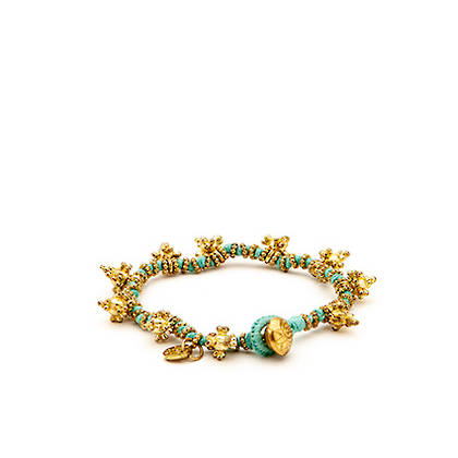 Bracelet Shakti - gold sky blue