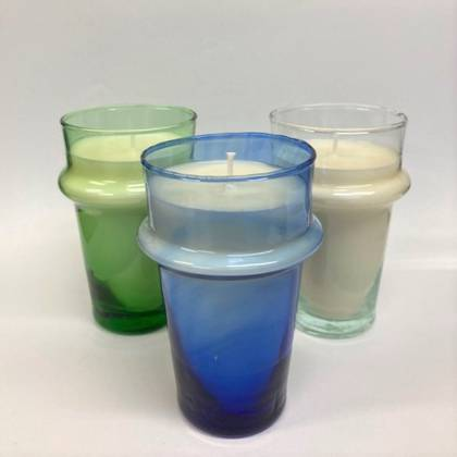 Egyptian Amber Hand poured Soy Wax Candle -  3 glass colour options