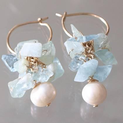 Earrings Cluster aquamarine, pearls - n° 50