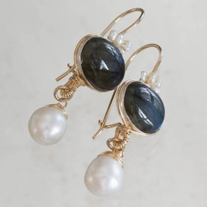 Earrings Crown larbradorite & pearl - n° 323 (sold)