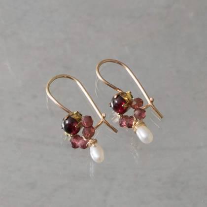 Earrings Dancer garnet, brown crystal - n° 336 (Sold)