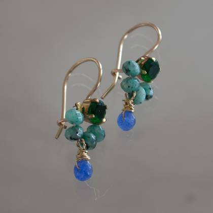 Earrings Dancer green crystal turquoise - n° 311 (sold)