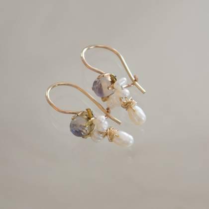 Earrings Dancer moonstone & pearls - n° 308  (sold)