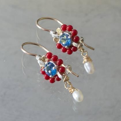 Earrings Flower mini red coral & blue crystal - n° 360