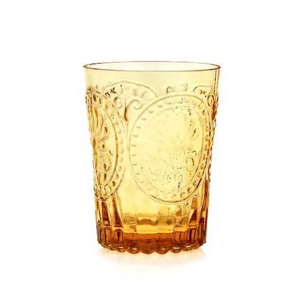 Fleur de Lys Amber Glass tumbler - set of 4