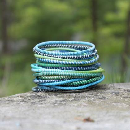 Jokko Bracelets from Mali Africa - set of 6 Turquoise