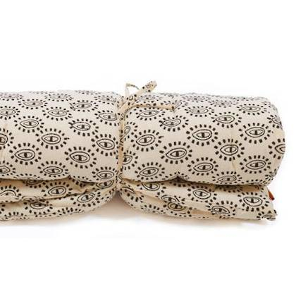 French cotton tufted mattress - Block Print Eyes (instore late August)