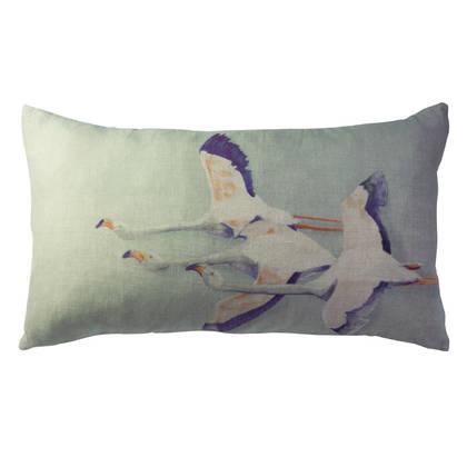 Maison Lévy Flamingo Vert de Gris Cushion 50 x 30cm  (available to order)