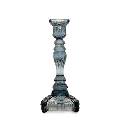 Portuguese Glass Candlestick - Blue-Grey