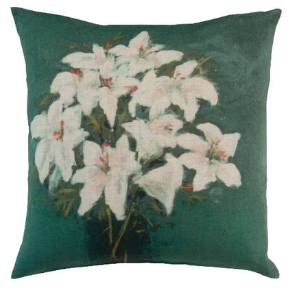 Maison Levy Fleurs Blues Canard Cushion 55cm  (available to order)