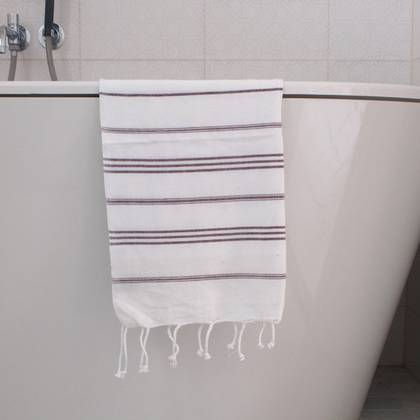Turkish Cotton Large Hand Towel - White / Aubergine