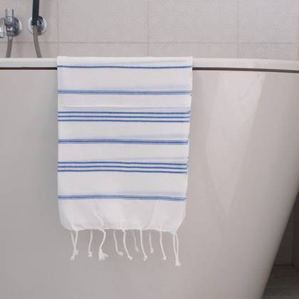 Turkish Cotton Large Hand Towel - White / Greek Blue