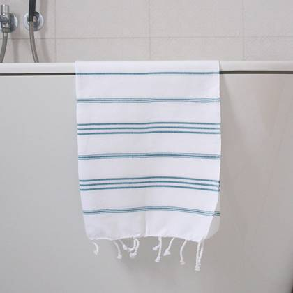 Turkish Cotton Large Hand Towel - White / Jade