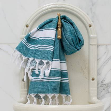 Turkish Honeycomb Cotton Large Hand Towel - Jade / white