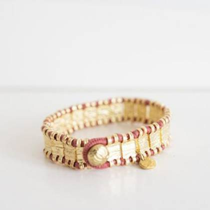 Bracelet Raj - gold Rose Wine