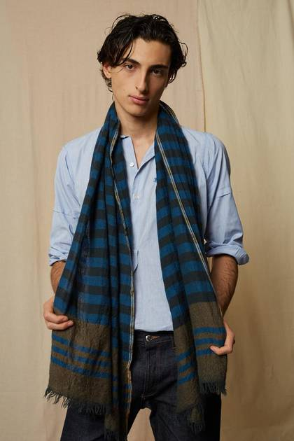 Moismont Scarf - design n° 474 - Tobacco & Blue (sold out)