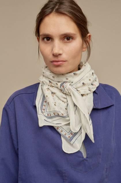 Moismont Scarf - design n°520 100% Cotton - Blue