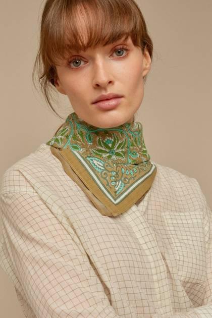 Moismont Scarf - design n°522 100% Cotton - Kaki