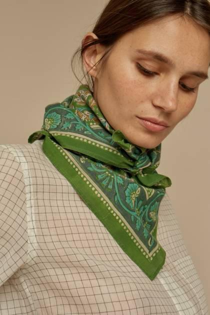 Moismont Scarf - design n°523 100% Cotton - Evergreen
