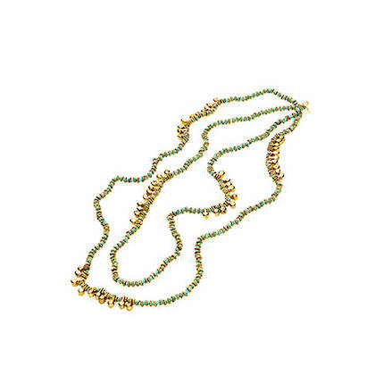 Necklace Puja - gold sky blue