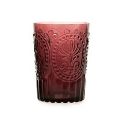 Fleur de Lys Purple Glass tumbler - set of 4 (available to order)