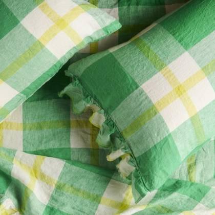 Zest Check Ruffle standard Pillowcase - set of 2