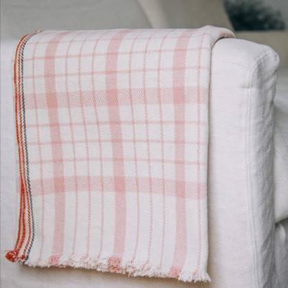 French Summer Cotton Throw - design n°8 Pink
