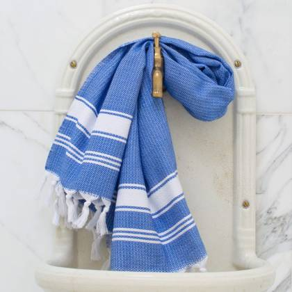 Turkish Honeycomb Cotton Large Hand Towel - Greek blue / white