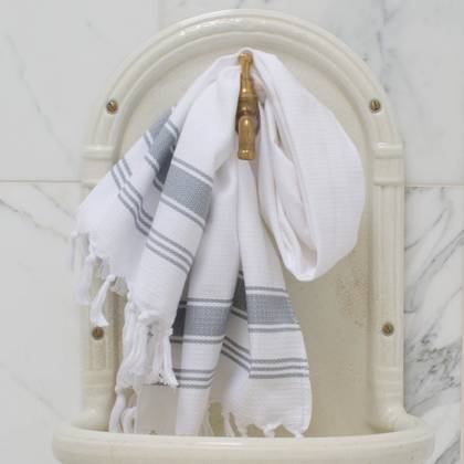 Turkish Honeycomb Cotton Large Hand Towel - White / grey (due instore early Feb)