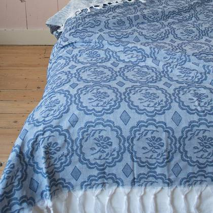 Turkish Cotton Bedcover - Greek blue