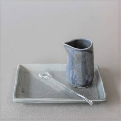 Vicki Fanning Petite Jug with Glass spoon on Presentation Tray - Grey