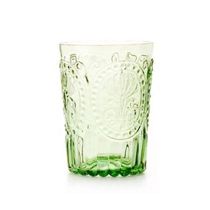 Fleur de Lys Light Green Glass tumbler - set of 4 (available to order)
