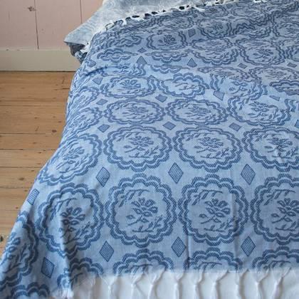 Turkish Cotton Bedcover - Navy