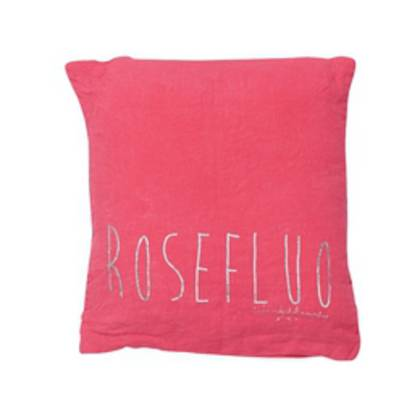 Bed & Philosophy pure linen Molly Cushion in Rose Fluro