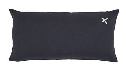 Large Pure linen Lovers cushion in Charbon 55 x 110cm