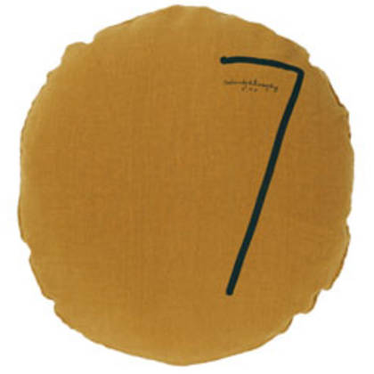 Bed & Philosophy pure linen Round 'Number' cushion in Butternut (available to order)