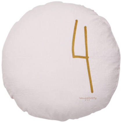 Bed & Philosophy pure linen Round 'Number' cushion in Shamalo (available to order)