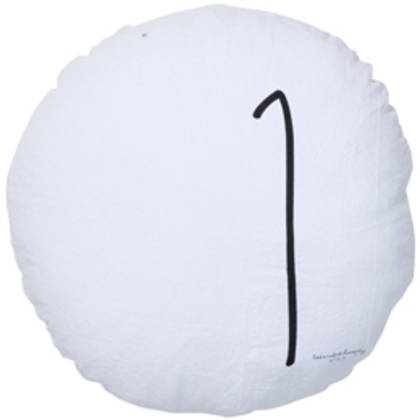 Bed & Philosophy pure linen Round 'Number' cushion in White (available to order)