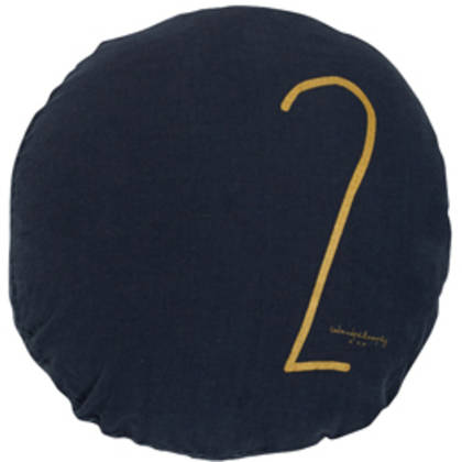 Bed & Philosophy pure linen Round 'Number' cushion in Charbon