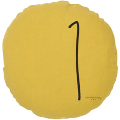 Bed & Philosophy pure linen Round 'Number' cushion in Curry (available to order)