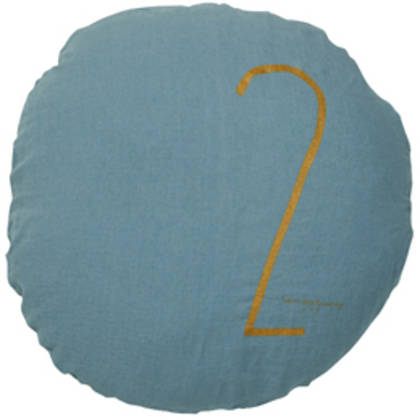 Bed & Philosophy pure linen Round 'Number' cushion in Mineral (available to order)