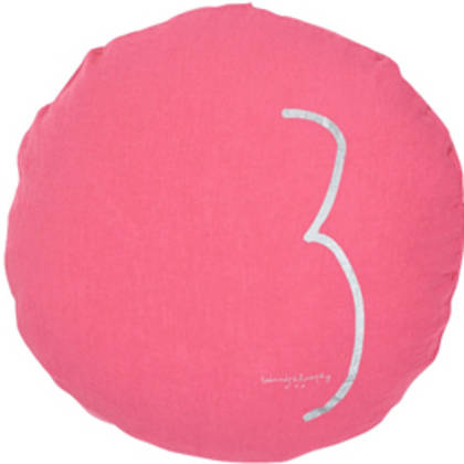 Bed & Philosophy pure linen Round 'Number' cushion in Rose Fluro (available to order)