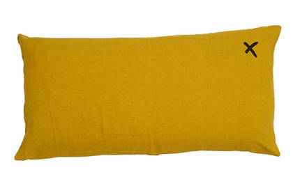 Large Pure linen Lovers cushion in Curry 55 x 110cm
