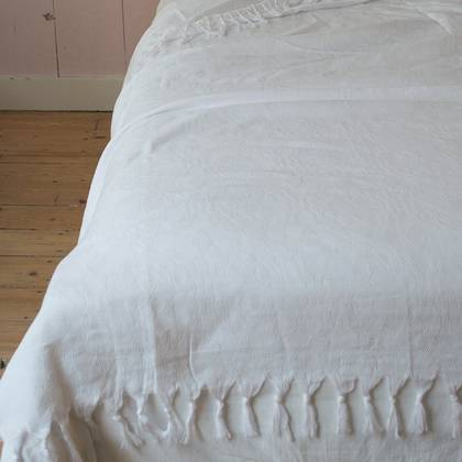Turkish Cotton Bedcover - White