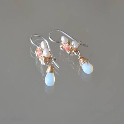 Earrings jasmine, mini pearls, coral - n° 144 (sold)