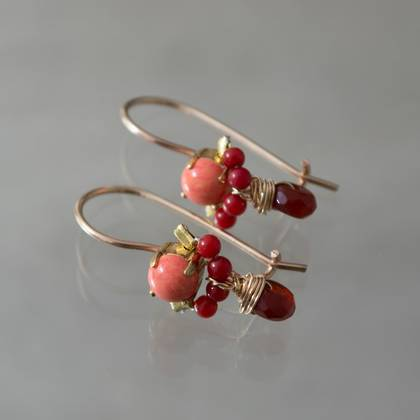 Earrings Dancer red & orange coral, garnet - n° 374 (sold)